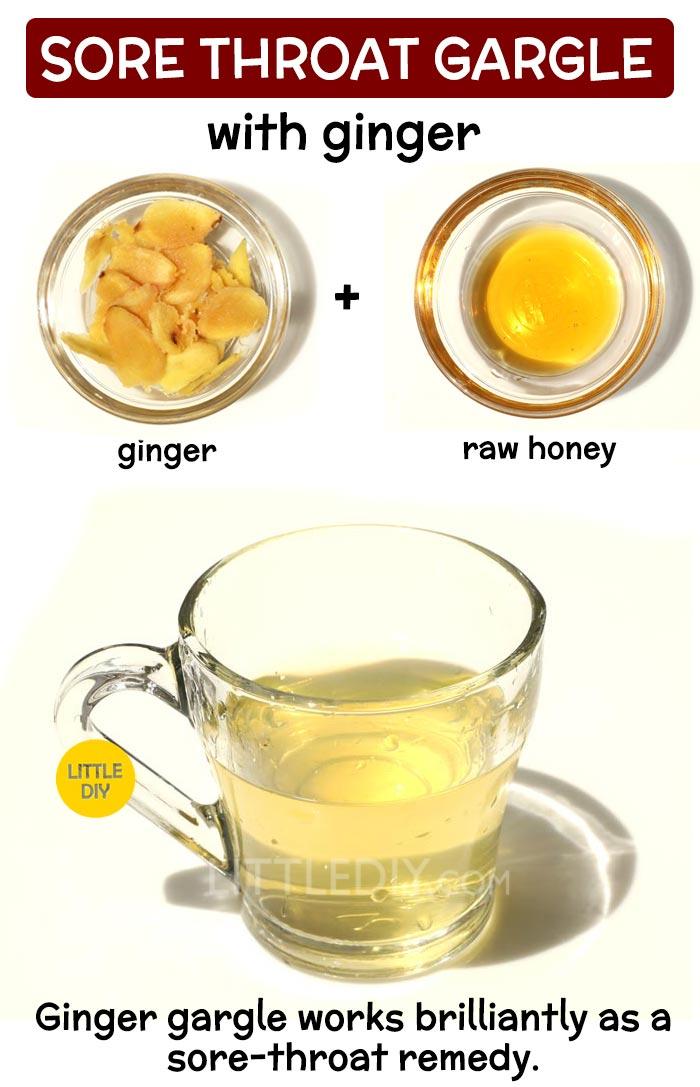 Ginger gargle for sore throat: