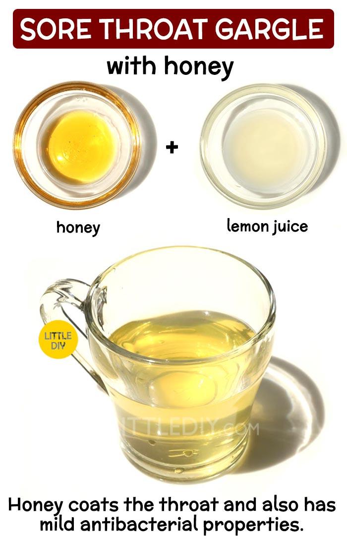 Honey gargle for sore throat: