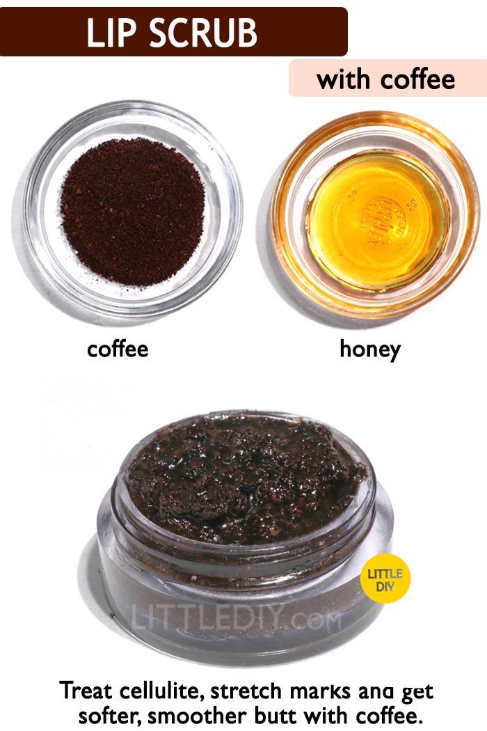Smooth Lips with coffee lip scrub: