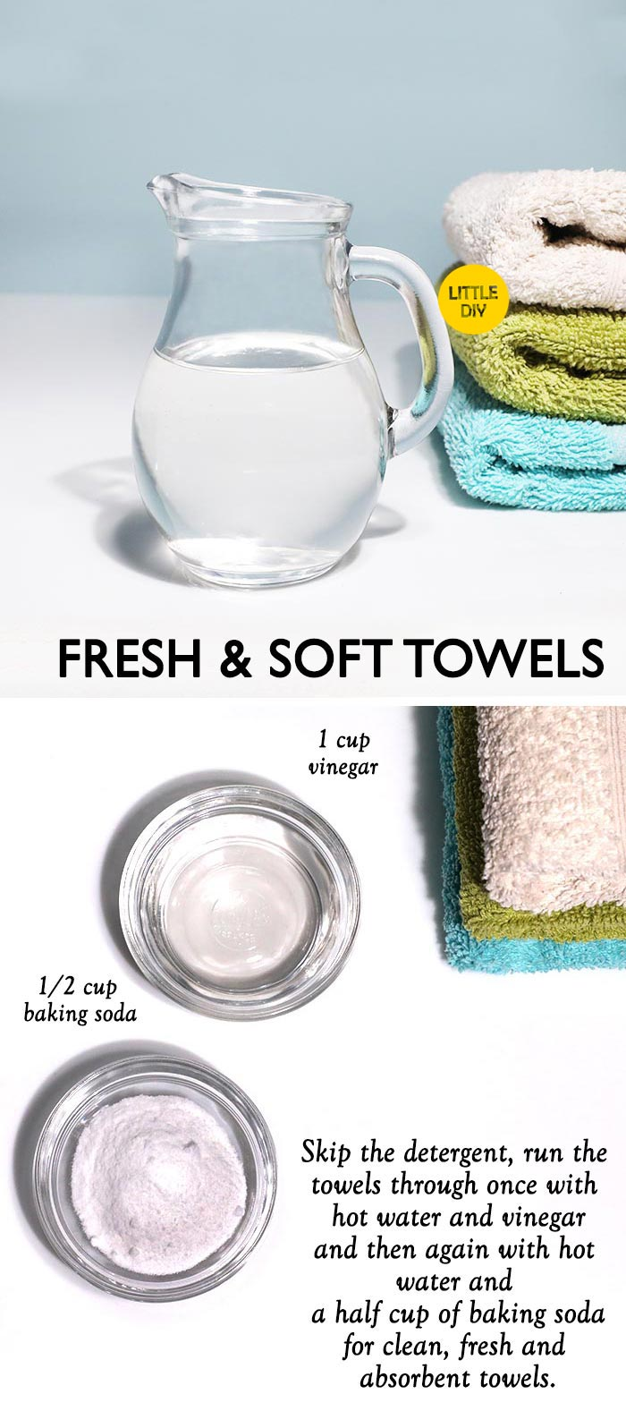 Photo of Fresh and soft towels with Vinegar